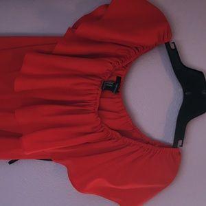 Forever 21 Dresses - Forever 21 off the shoulder, Ruby red dress